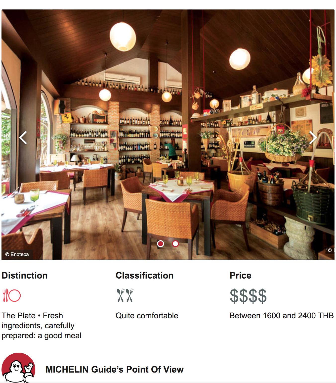 Enoteca, Best Italian Restaurant Bangkok is in Michelin Bangkok